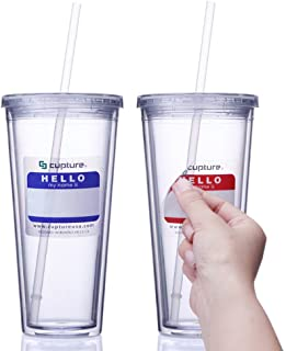Cupture Classic Insulated Double Wall Tumbler Cup with Lid, Reusable Straw & Hello Name Tags - 24 oz, 2 Pack (clear)