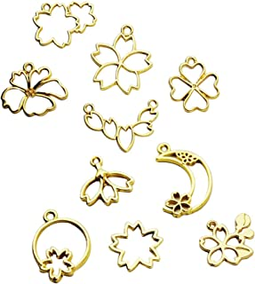 SUPVOX 40pcs Jewelry Making Charms Metal Floral Pendant Charms for DIY Jewelry Making Accessory