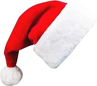 Adults' Christmas Santa Claus Hat,Plush Xmas Cap,Velvet Headwear 18.5X12 Inch 1 Pack Red