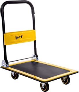 Push Platform Truck Dolly AFT PRO USA Folding Rolling Flatbed Cart 330lb Weight Capacity | 360 Degree Swivel Wheels Foldable Handle | (Yellow, 330LB)