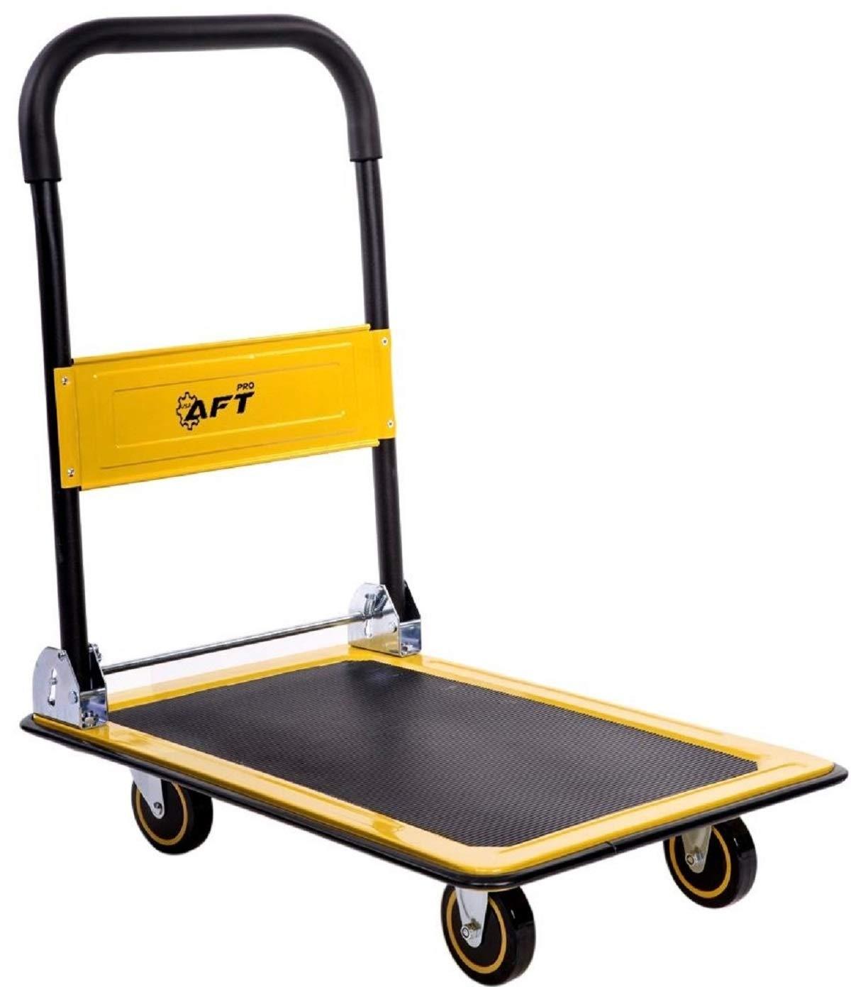 Push Platform Truck Dolly Aft Pro Usa Folding Rolling Flatbed Cart 330lb Weight Capacity 360 Degree Swivel Wheels Foldable Handle Yellow 330lb Home Improvement