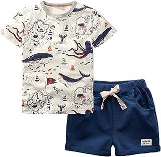 4250971458651 Garçons Coton Manche Courte Chemise + Short Ensemble de Vêtements d'été 2  Pièces pour