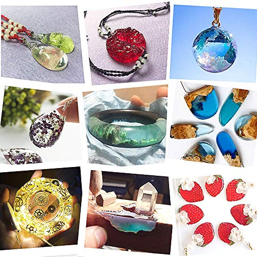 Heflashor 96 Pcs Resin Molds DIY Silicone Molds for Resin Silicone Casting Molds for DIY Jewelry Craft Making Epoxy Resin Mold Cube Pyramid Sphere