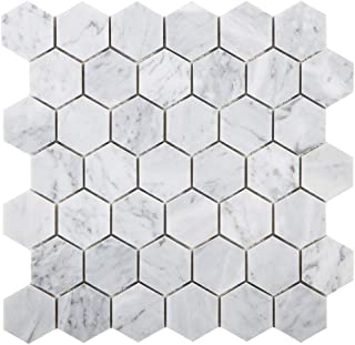 Diflart Italian White Carrara Marble Mosaic Tile Polished Pack of 5 (Hexagon 2