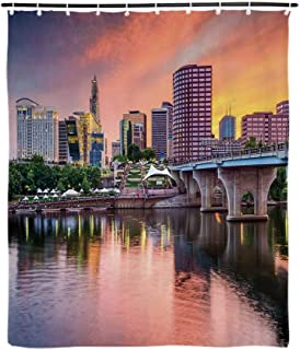 United States Fashionable Shower Curtain,Water Reflection in Evening Urban City Hartford Connecticut Tranquil Sunset Decorative for Bathroom,72''L x 35''W