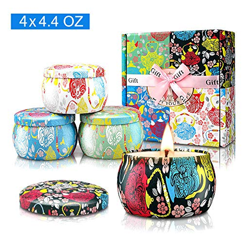 Large Size Scented Candles Gifts Sets for Women-Gardenia, Lavender, Jasmine and Vanilla, Soy Wax Travel Tin Fragrance Gift for Birthday Mother's Day Bath Yoga
