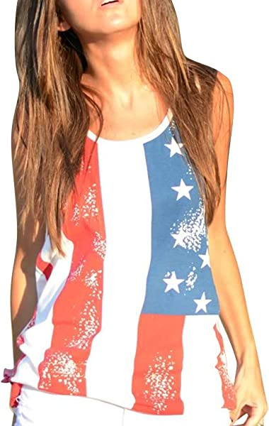 Staron 4th Of July Shirts For Women Tank Top Women S USA American Flag T Shirt Sleeveless Vest Patriotic Tank Tops