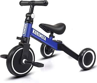 KORIMEFA 3-i-1 barn trike för 1-3 år gamla pojkar flickor småbarn trehjuling 3 hjul baby balanscykel lätt vikbar trike jus...