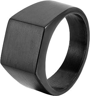 SHIYU خاتم من الفولاذ المقاوم للصدأ للرجال خاتم ريترو طلاء عالي الجودة مقاس 9-12