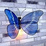 DIY E27 - Aplique de Pared con Mariposa Ajustable Interior Vintage Industrial Hierro Tuberías de Agua Lámpara de Pared Lámpara de Cabecera para Bar Cafetería Restaurante Decoración Lámpara(Azul)