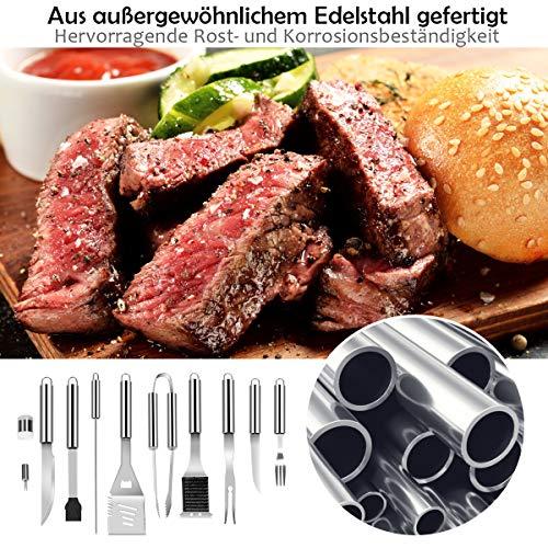 6111PrlUXpL - COSTWAY Grillbesteck-Set 27-teilig, aus Edelstahl, BBQ-Grillwerkzeugsatz mit Tragekoffer, Komplettes Grillzubehör zum Kochen, Camping