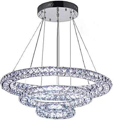 Flashing God LED K9 Crystal Chandelier Contemporary Remote Control Dimmable Ceiling Lamp Fixtures Adjustable Pendant Light 3 Sides Crystal