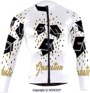 SCOCICI Cycling Jersey Long Sleeves Men,Academy Achievement Bachelor Theme Thrown Caps T