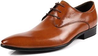 [ウォウフォ] 商標登録079889 メンズ レザー ビジネスシューズ 紐 本革 革靴 ポインテッドトゥ パーティー靴 結婚式靴 プレーントゥ レースアップ メダリオン レトロ トラッドシューズ 紳士靴 オフィスシューズ (ブラウン) 825-1