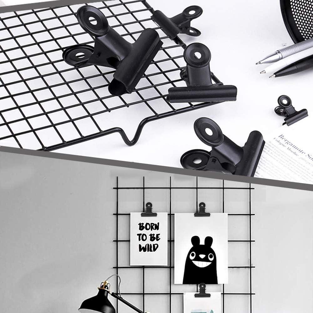 Graffette in Metallo Documento Ufficio Pinzette Rotonde Multiuso 20 Pezzi Argento Bulldog Clips Busta per Alimenti Foto Fattura nero, 50mm