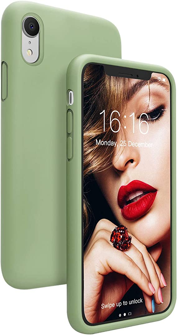 JASBON Case for iPhone XR, Liquid Silicone Shockproof Gel Rubber iPhone XR Case with Raised Edges Drop Protection Cover for iPhone XR 6.1 inch - Matcha Green