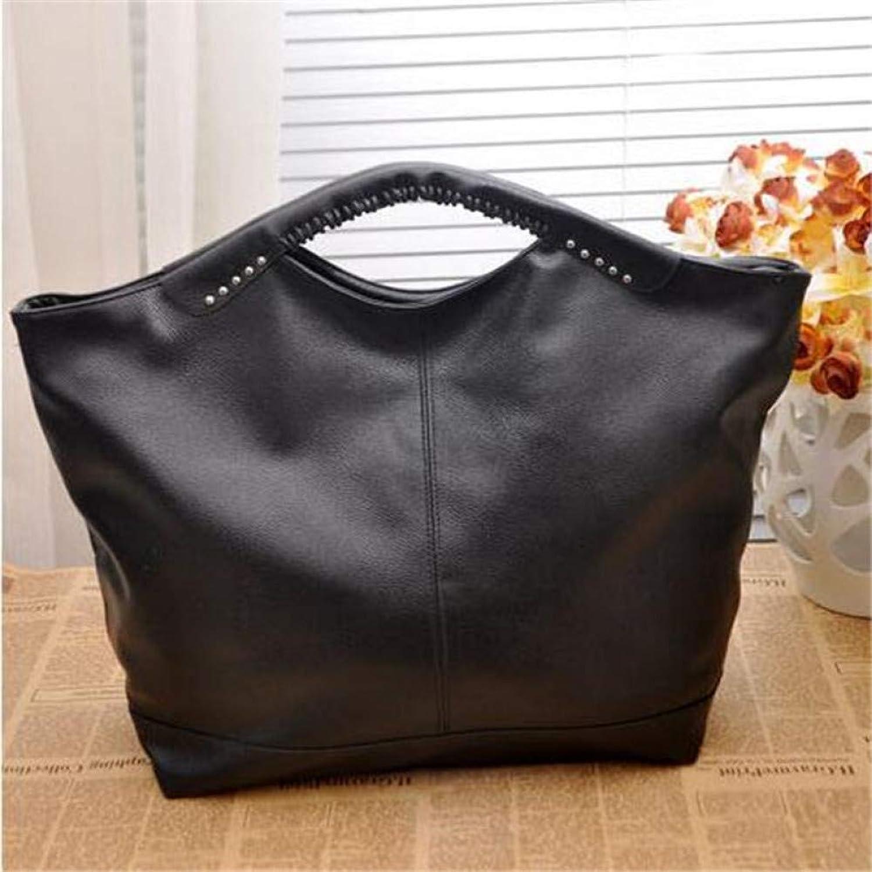 JQSM Fashion Women Bag Hot Black Women Handbag Pu Rivet Package Large Tote Shoulder Bag