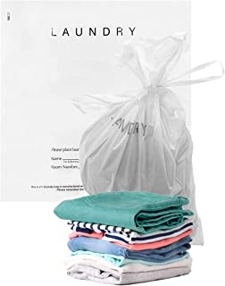 APQ Pack of 100 Hotel Laundry Gusset Bags 18 x 19 + 4G. Plastic Poly Bags 18x19 with Drawstring Closure. 1.25 Mil. Write-on Indicator Strips. Clear Plastic Biodegradable Bags with Draw Tape Handle.