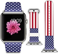 iWatch Leather Band 42mm, Band with Adapter for Apple Watch Strap 42mm - American Flag