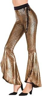 CBTLVSN Women Bell-Bottom Long Satin Snakeskin-Print Sexy Belly-Dance Pant