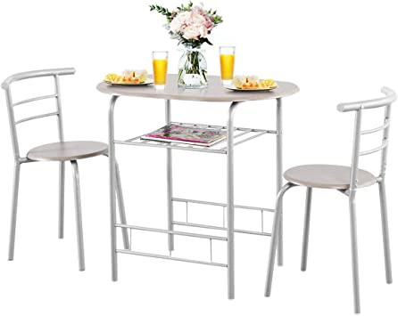 Amazon Com Giantex 3 Piece Dining Set Compact 2 Chairs And Table Set With Metal Frame And Shelf Storage Bistro Pub Breakfast Space Saving For Apartment And Kitchen Silver Natural