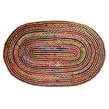 Cotton Craft - Hand Woven Reversible Jute & Cotton Multi Chindi Braid Rug - 4 x 6 Feet Oval - This Rug is made from multi color re-cycled yarns, actual product may vary in color from the image shown
