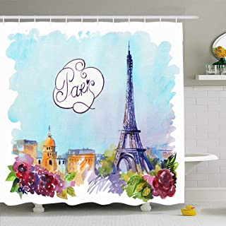 Ahawoso Shower Curtain for Bathroom 60x72 Blue Paris Skyline Drawing On Wright City Parks Watercolor Travel Architecture Beautiful Black Color Waterproof Polyester Fabric Bath Decor Set with Hooks