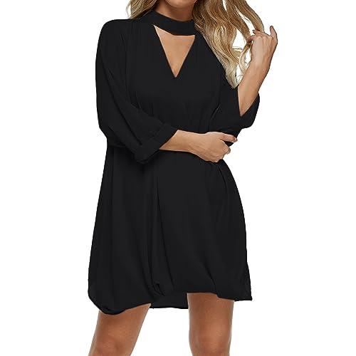 48dd488e836e9 Auxo Women Long Shirt Choker V Neck Tunic Top Wrap 3/4 Sleeve Blouse  Oversized