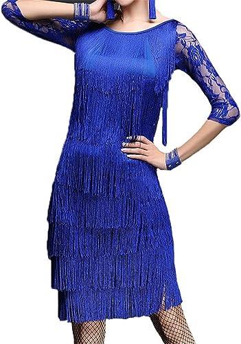 Robes de danse pour femmes Femmes glands robe de danse latine tenue demi-hommeche florale dentelle splice débardeur avec jupe de danse danse salle de bal concours de costumes de perforhommece Costume de d