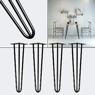 Patas horquilla mesa set 4 negro 45cm Hairpin Legs diseño industrial vntage retro tendencia muebles