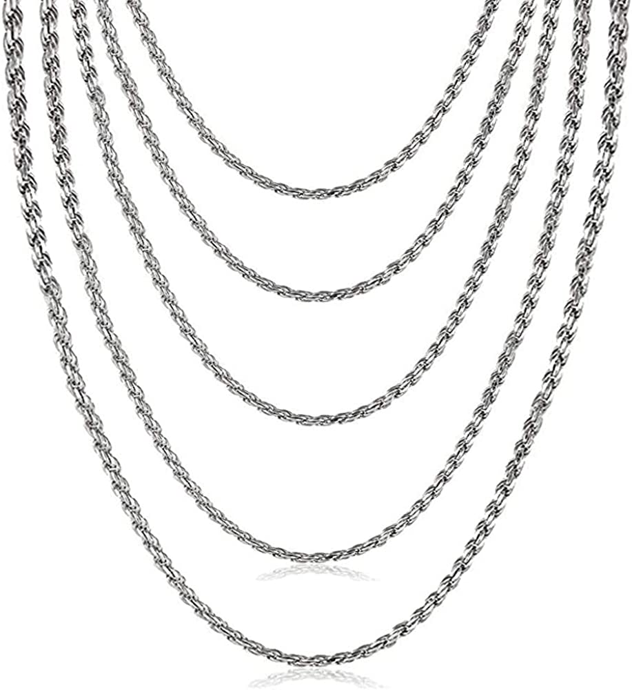VNOX Stainless Steel Men Women Twist French Rope Chain Necklace,16/18/20/22/24/28/26/28/30/32/34/36 Inches