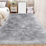 Andecor Soft Fluffy Faux Fur Bedroom Rugs 3 x 5 Feet Indoor Wool Sheepskin Area Rug for Girls Baby Living Room Chair Sofa Home Decor Floor Carpet, Grey