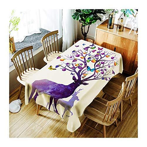 ZHAOXIANGXIANG Décoration Maison Pique-Nique Dîner Imprimer Table Cloth Mauve Elk Étoilé Décoration Minimaliste Accueil Tapis De Table Papillon, l'arbre Fruitier,150Cm×260Cm