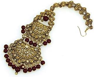Nickel Free Swarovski Maang tika encrusted with Golden Shadow Swarovski Crystals and Maroon beads Genuine Swarovski Crysta...