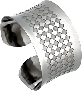 Sabrina Silver Stainless Steel Wide Cuff Bracelet for Women 1 1/2-2 inch Wide, Size 7.5 inch