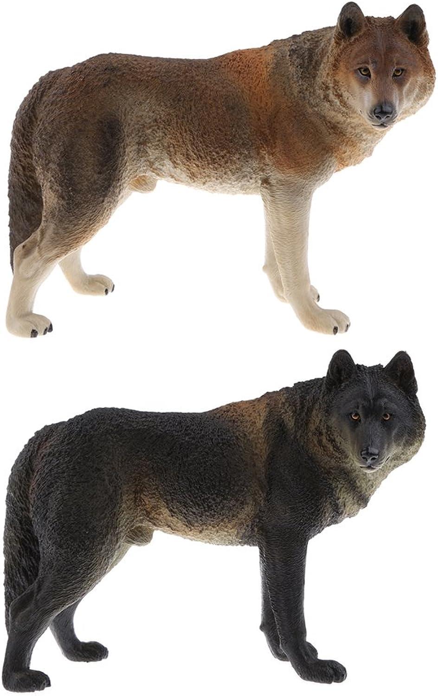 Fityle 2Pcs Lifelike Simulation Wolf Model Nature Animal Figure Home Decoration Christmas Gift