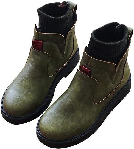 KOKQSX-Martin Stiefel cómodas damenes Stiefel Manga Cabeza rotonda Casual Medio y 4cm