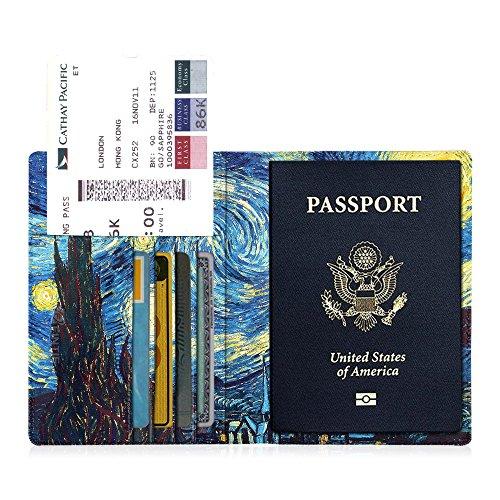 Fintie Reisepass Schutzhülle - Premium Kunstleder Reisepasshülle Halter mit RFID Blockier für Kreditkarten, Ausweis und Reisedokumente, Starry Night
