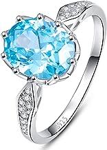 BONLAVIE Womens 925 Sterling Silver 4ct Created Swiss Blue Topaz White Cubic Zirconia CZ Solitaire Engagement Anniversary Ring