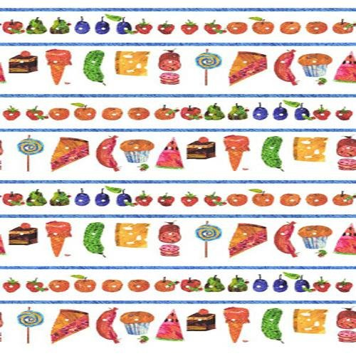 Andover The Very Hungry Caterpillar Stripe Picnic Treats, White