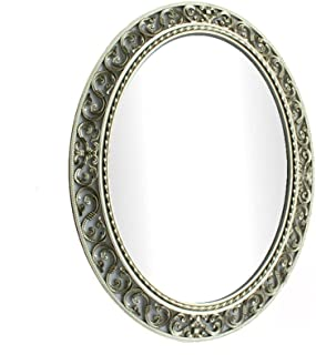 XZPENG Wall Mirror for Bathroom Hollow Pattern Oval Vanity Mirror Water-Proof Moisture-Proof European Style (W) 59*(H) 73cm (Color : Champagne)