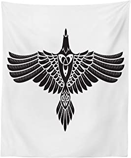 Lunarable Raven Tapestry, Norse Theme Bird in Celtic Design Monochrome Style Illustration Print, Fabric Wall Hanging Decor for Bedroom Living Room Dorm, 23