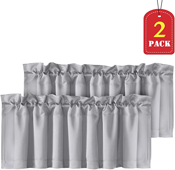 H VERSAILTEX Home Decorative Thermal Insulated Valances For Windows Rod Pocket Room Darkening Curtain Valances For Bedroom Foyer 2 Pack 52 Inch X 18 Inch Dove Gray