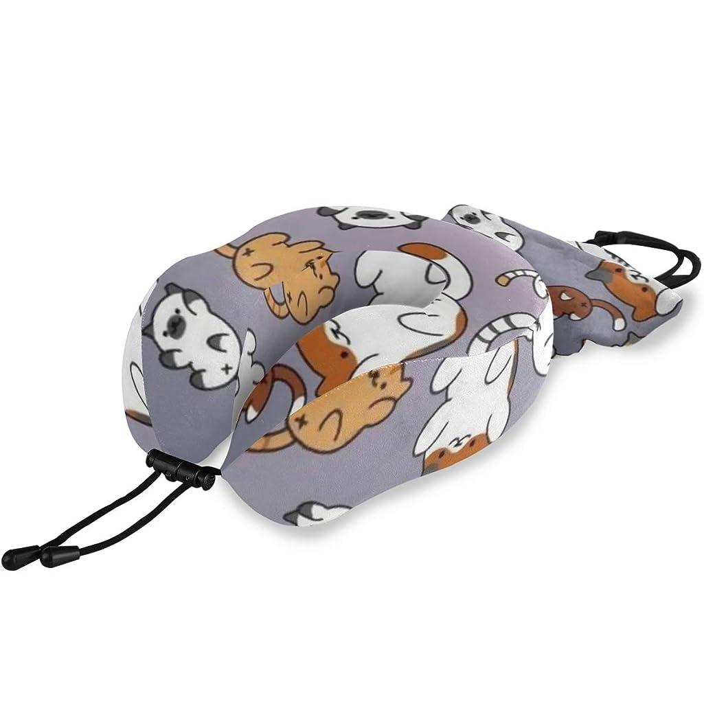 柔らかい足早熟気をつけてネックピロー U型まくら 高密度 首枕 低反発 携帯枕 トラベル枕 持ち運び便利 仮眠枕 通気 調節可能 頚椎肩こり改善 旅行用品 飛行機 オフィス 収納ポーチ付 かわいい猫 男女兼用