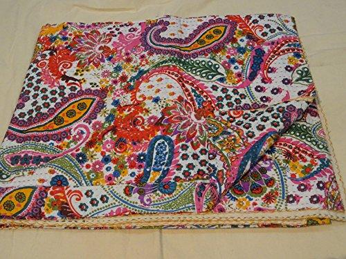 Diseño de Dibujos de Tribal Funda de edredón de Matrimonio Kantha diseño de Cachemira, tamaño de Cama Kantha 228,6 cm x 274,32 cm 010