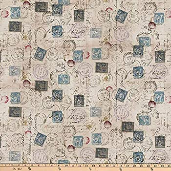 Coats & Clark  Tim Holtz Eclectic Elements Correspondence  Quilt Fabric Taupe