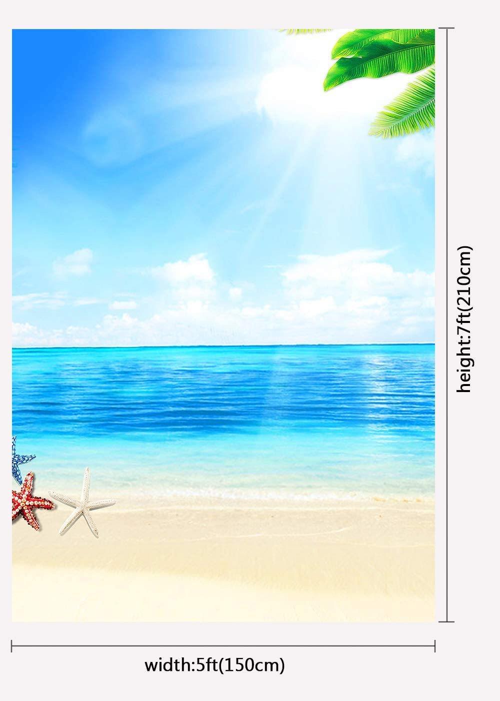4x6ft Summer Beach Backdrop Tropical Beach Background for Birthday Party Photography Props HXFU191