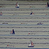 Dekostoff Emilia von Swafing, Boote, Streifen, beige
