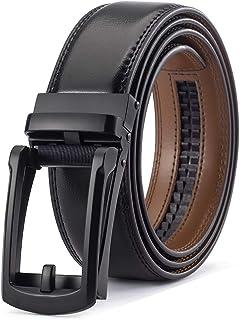 Click Ratchet Belt Dress with Sliding Buckle - Men's Belt Adjustable Trim to Exact Fit