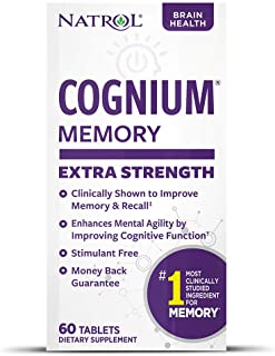 Natrol Cognium Extra Strength Tablets, Brain Health, Keeps Memory Strong, #1 Clinically Studied, Shown to Improve Memory a...